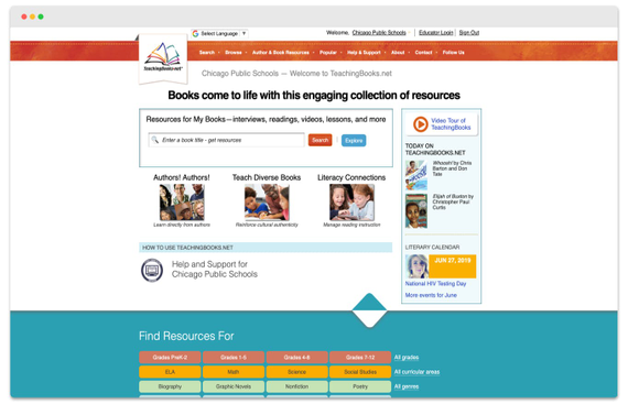 The previous TeachingBooks homepage.
